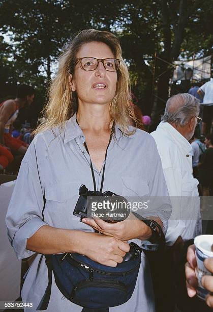 American portrait photographer Annie Leibovitz in Tompkins Square Park New York City USA 1992