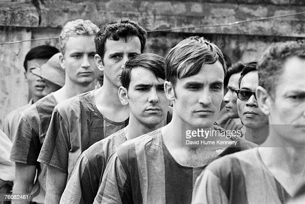 American POW soliders line up at the Hanoi Hilton prior to their release March 29 1973 in Hanoi Vietnam