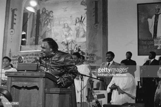 American preacher and singer Solomon Burke addresses a congregation, USA, circa 1968.