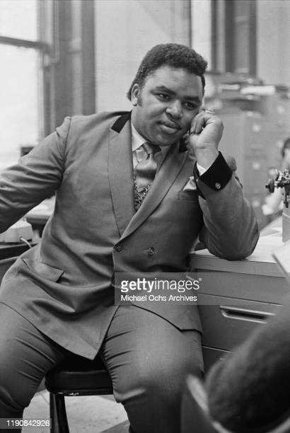 American preacher and singer Solomon Burke at the offices of 'R'n'B World' magazine in New York City, USA, 6th February 1969.