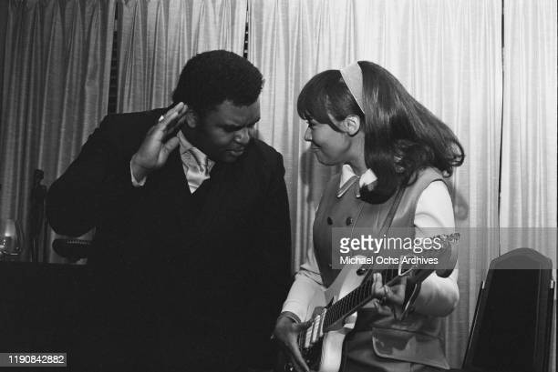 American preacher and singer Solomon Burke with singer Tamiko Jones , USA, circa 1969. They recorded several duets together.