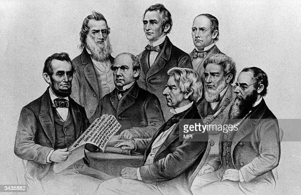 American President Abraham Lincoln with members of his cabinet , Gideon Welles, the Secretary of the Navy, Salmon P Chase, the Secretary of the...