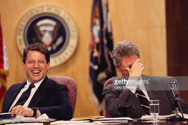 American President Bill Clinton and Vice Presidnet Al Gore laughing during the Portland Summit
