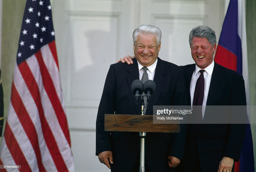 American President Bill Clinton laughs at Boris Yeltsin's jokes during a joint news conference in Hyde Park, New York. | Location: Hyde Park, New York, USA.