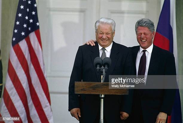 American President Bill Clinton laughs at Boris Yeltsin's jokes during a joint news conference in Hyde Park, New York. | Location: Hyde Park, New...