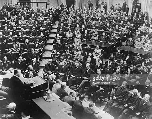 American President Calvin Coolidge addresses Congress in a speech broadcast all over the world