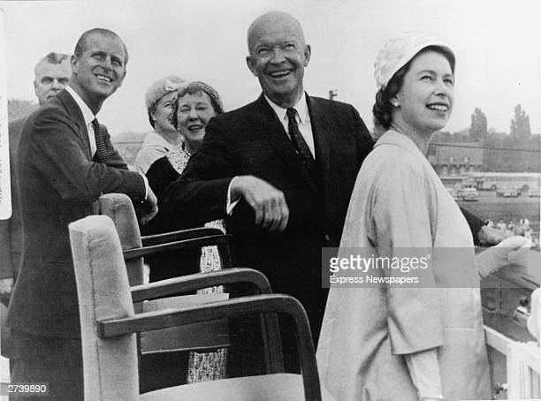 American President Dwight D Eisenhower Mamie Eisenhower Queen Elizabeth II Prince Philip and Canadian Prime Minister John Diefenbaker and his wife...