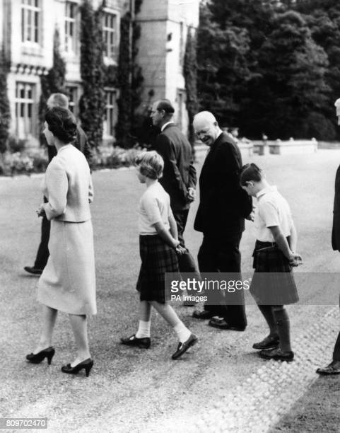 American President Dwight D Eisenhower walks with Queen Elizabeth II the Duke of Edinburgh Princess Anne and the Prince of Wales at Balmoral Also in...