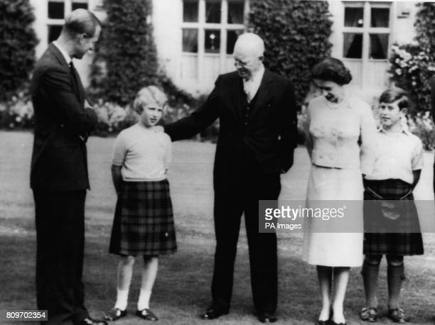 American President Dwight D Eisenhower with Queen Elizabeth II the Duke of Edinburgh Prince of Wales and Princess Anne at Balmoral
