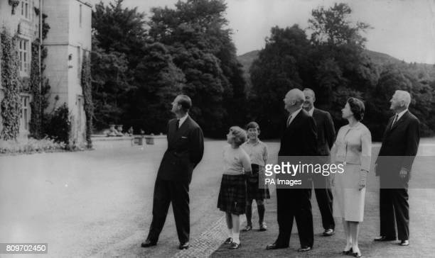 American President Dwight D Eisenhower with Queen Elizabeth II the Duke of Edinburgh Prince of Wales Princess Anne Major John Eisenhower and...