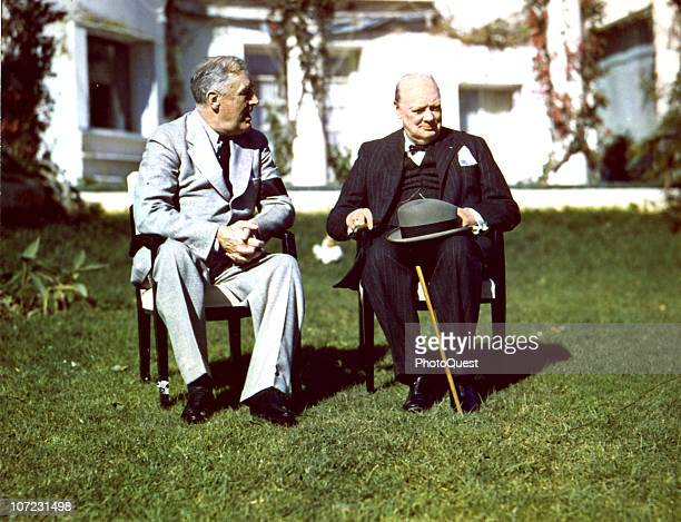 American president Franklin Delano Roosevelt and British Prime Minister Winston Churchill at the Casablanca Conference in Morocco January 1943