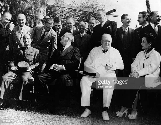 American President Franklin Delano Roosevelt British Prime Minister Winston Churchill and Chinese leader Chiang Kai Shek meet with other military...