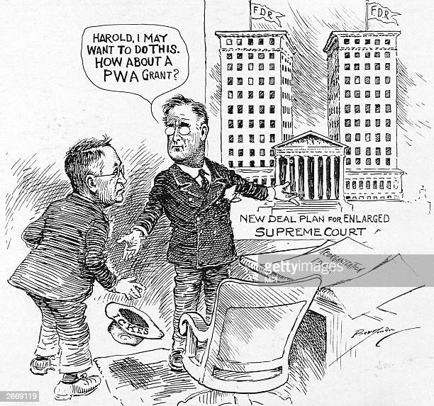 American President Franklin Delano Roosevelt proposing his plan to enlarge the Supreme Court to the New Deal brains truster Harold Ickes .