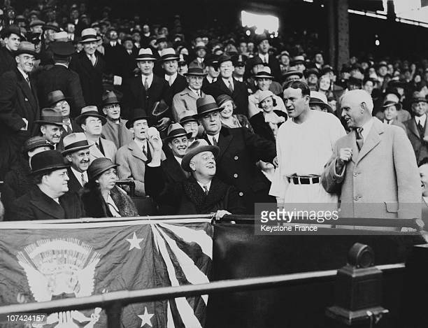 American President Franklin Roosevelt Opening The Baseball Season At Washington In Usa On April 12Nd 1933