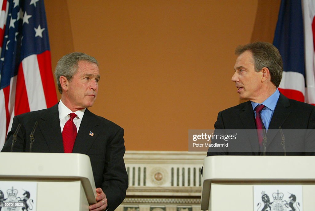Bush & Blair At Foreign Office : News Photo
