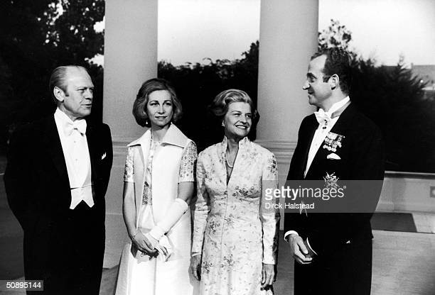 American President Gerald Ford hosts a state visit from Spain's Juan Carlos at the White House Washington DC June 2 1976 Princess Sophia of Greece...