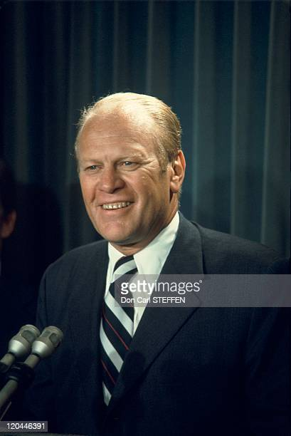 American President Gerald RFord in United States in around 1974 38th President of the USA from 1974 to 1977 He had been the first Vice President...