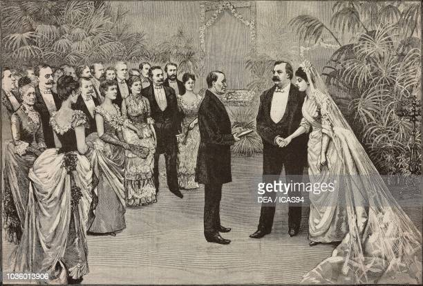 American President Grover Cleveland and Frances Folsom's wedding June 2 Washington United States of America drawing by Dante Paolocci engraving from...