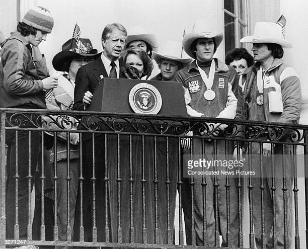 American President Jimmy Carter the 39th President of the United States making an address during a function at the White House on February 25...