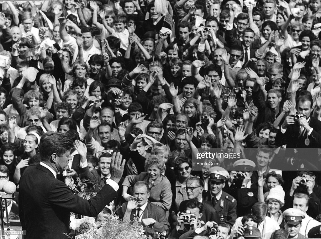 American President John F. Kennedy (1917 - 1963) delivers a speech (the so-called 'Ich bin ein Berliner' speech) to a massive crowd Berlin, Germany, June 26, 1963.