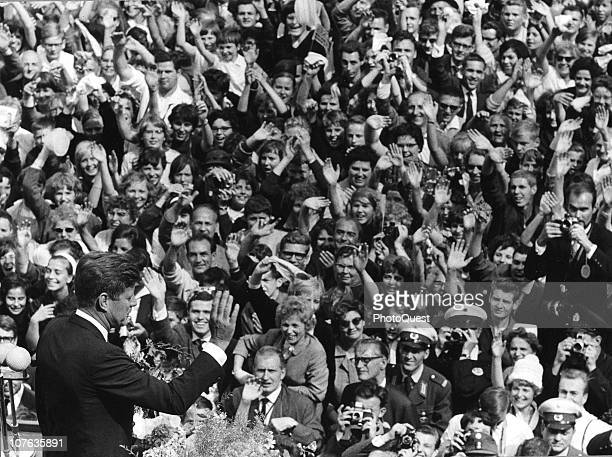 American President John F Kennedy delivers a speech to a massive crowd Berlin Germany June 26 1963