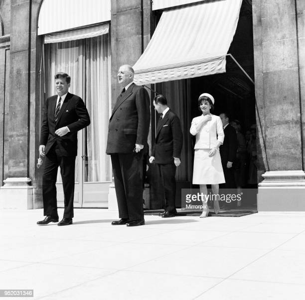 American president John F Kennedy with French President Charles De Gaulle at the Elysee Palace during their Spring visit to Paris 31st May 1961