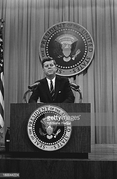 American President John Fitzgerald Kennedy during a press conference at the White House 1963 in Washington DC United States