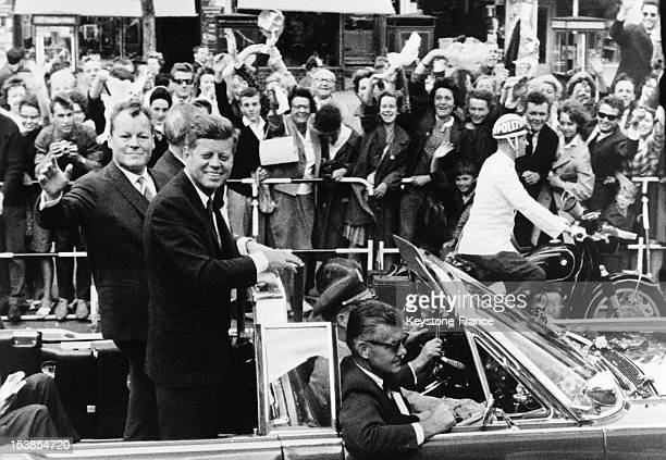 American President John Fitzgerald Kennedy with mayor of West Berlin Willy Brandt on June 27 1963 in Berlin Germany