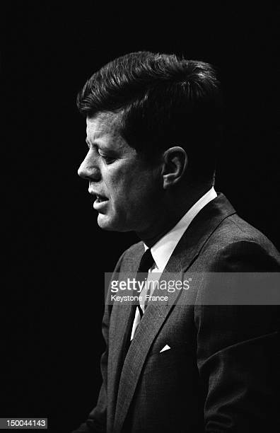 American President John Fitzgerald Kennedy's press conference on February , 1962 in Washington DC, United States.