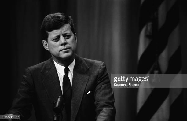 American President John Fitzgerald Kennedy's press conference on February 1962 in Washington DC United States