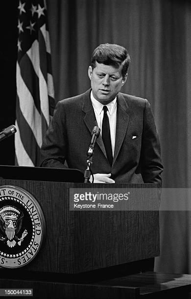 American President John Fitzgerald Kennedy's speech in 1963 in Washington DC United States