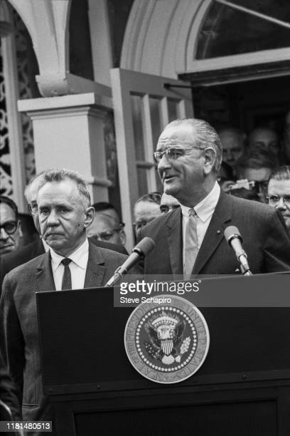 American President Lyndon Johnson speaks at a podium during the Glassboro Summit Conference, on the campus of Glassboro State College, Glassboro, New...