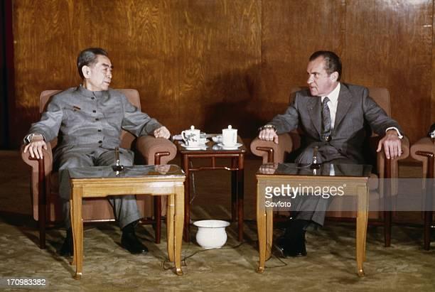 American president richard m, nixon meeting with chou en-lai in beijing, china, 1972.