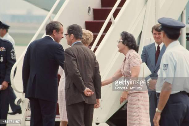 American President Richard Nixon boarding air craft after his resignation Washington DC August 1974