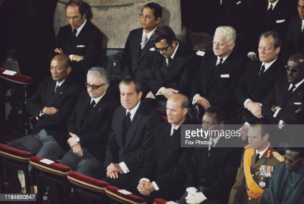 American President Richard Nixon German Chancellor Willy Brandt and JeanBédel Bokassa President of the Central African Republic attend the funeral of...