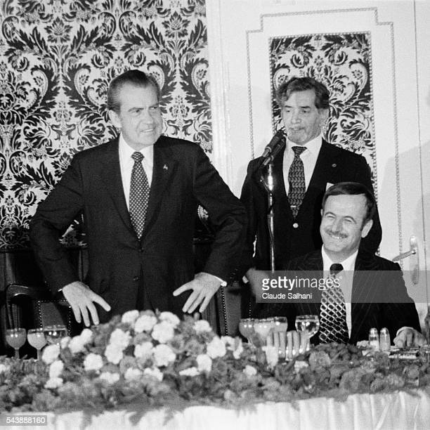 American President Richard Nixon makes an official visit to Damas where he is welcomed by President of Syria Hafez alAssad | Location Damas Syria