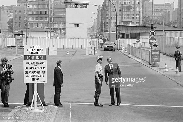 American president Ronald Reagan visits Checkpoint Charlie in Berlin