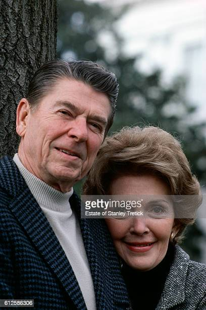 American president Ronald Reagan with his wife Nancy Davis at the White House