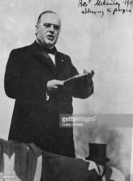 American President William McKinley , makes an address to the people. McKinley won the elections of 1896 and 1900 but was assassinated in Buffalo,...