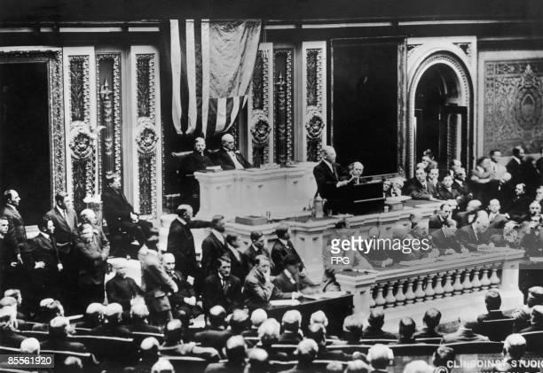 American president Woodrow Wilson gives a speech to Congress Washington DC 4th December 1917