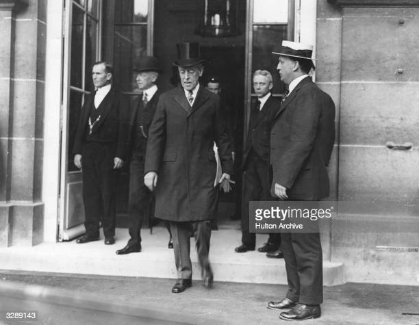 American president Woodrow Wilson leaving the Quai D'Orsay during the Versailles Peace Conference.