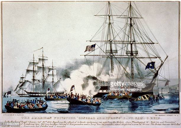American privateer General Armstrong in Port Fayal Azores 26 Sept 1814 firing on 4 boats of British Marines from the 'Carnation' Attack repelled Next...