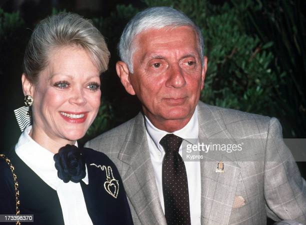 American producer Aaron Spelling with his wife author Candy Spelling circa 1990