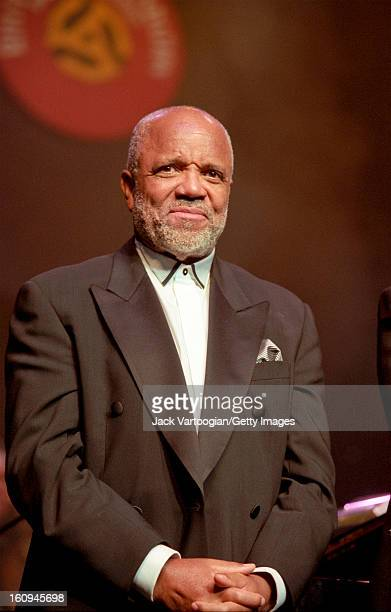 American producer and founder of Motown Records Berry Gordy Jr receives the 2000 Rhythm Blues Foundation Pioneer Award at Hammerstein Ballroom New...