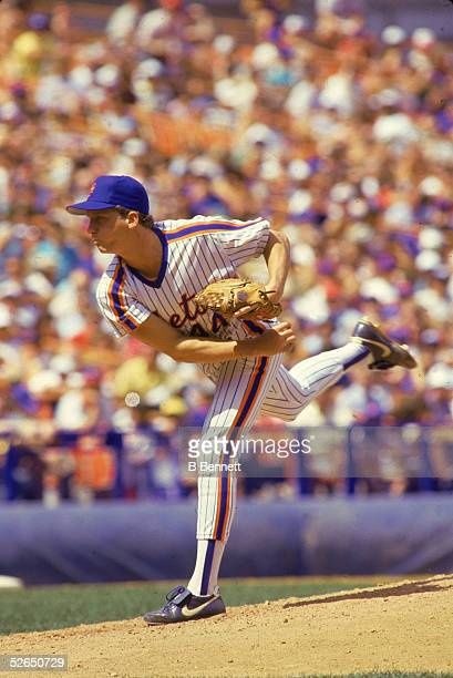American professional baseball player David Cone, pitcher for the New York Mets, delivers a pitch during a home game at Shea Stadium, Flushing,...