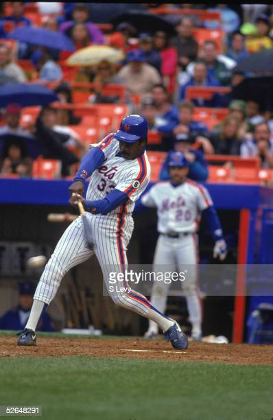American professional baseball player Eddie Murray of the New York Mets swings at a low pitch during a game at Shea Stadium Queens New York May 1992