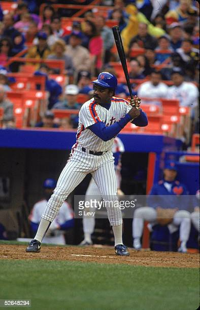 American professional baseball player Eddie Murray of the New York Mets stands ready at bat and prepares to swing Shea Stadium Queens New York May...