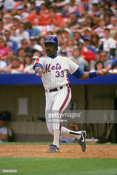 American professional baseball player Eddie Murray of the New York Mets follows through after swinging at a pitch Shea Stadium Queens New York May...
