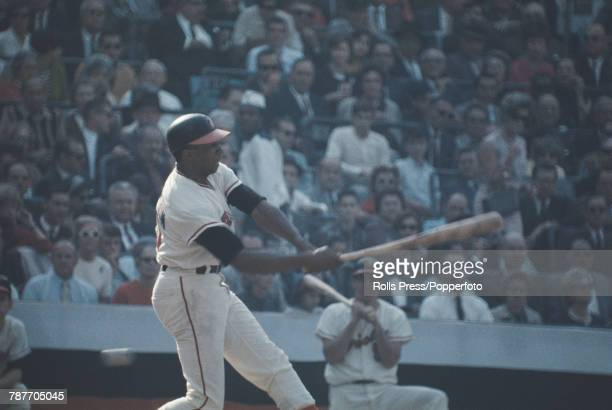 American professional baseball player Frank Robinson pictured in action batting for Baltimore Orioles in 1966