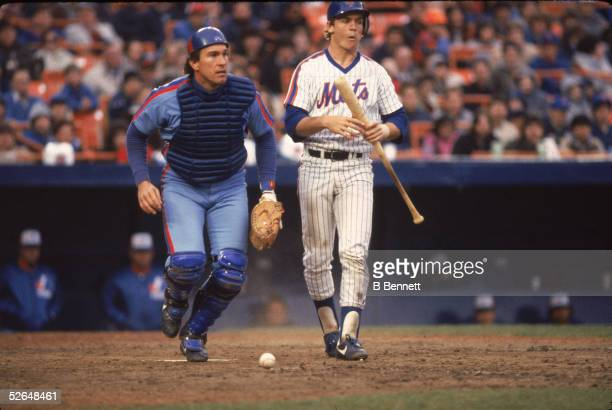 American professional baseball player Gary Carter of the Montreal Expos retrieves a fallen ball running by an unidentified New York Met Shea Stadium...